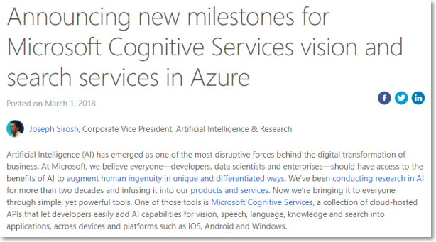 Announcing new milestones for Microsoft Cognitive Services vision and search services in Azure