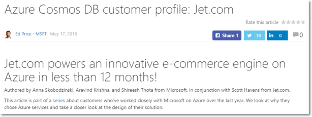 Azure Cosmos DB customer profile: Jet.com