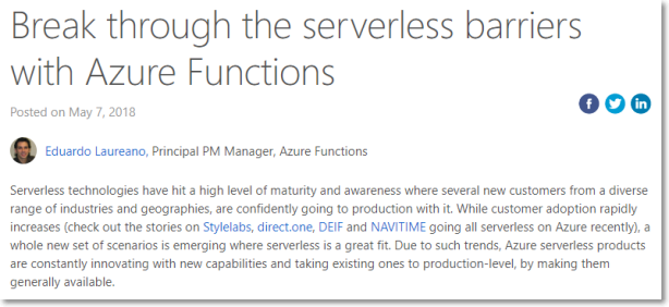 Break through the serverless barriers with Azure Functions