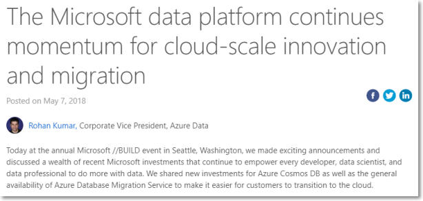 The Microsoft data platform continues momentum for cloud-scale innovation and migration