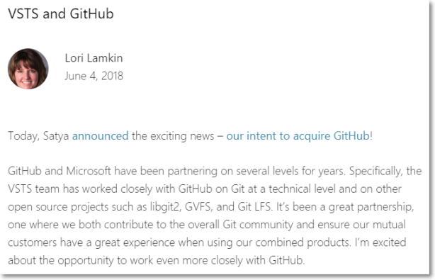 Microsoft DevOps Blog > VSTS and GitHub