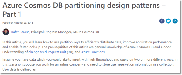 Azure Cosmos DB partitioning design patterns – Part 1