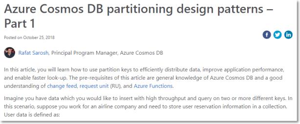 Azure Cosmos DB partitioning design patterns – Part 1