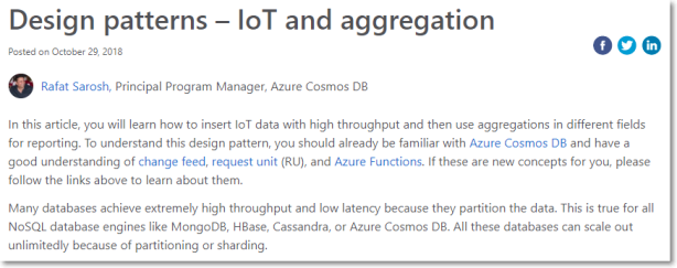Design patterns – IoT and aggregation