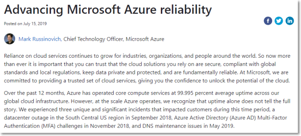 Advancing Microsoft Azure reliability