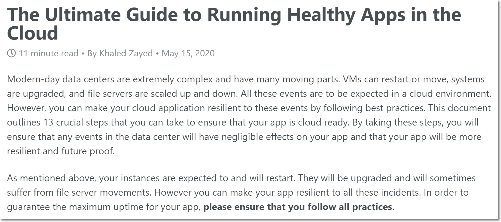 The Ultimate Guide to Running Healthy Apps in the Cloud
